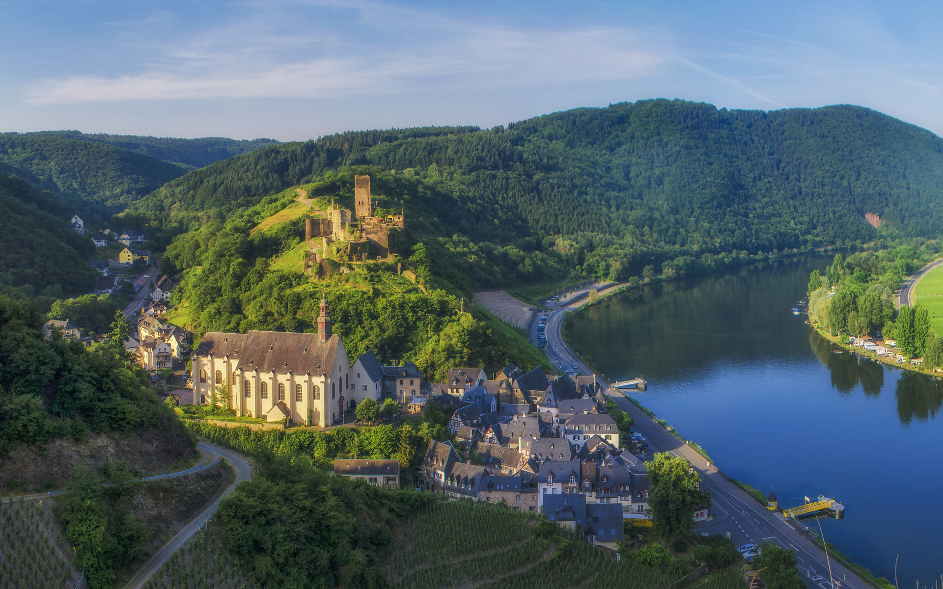 германия, дома, река, beilstein, холмы, городок