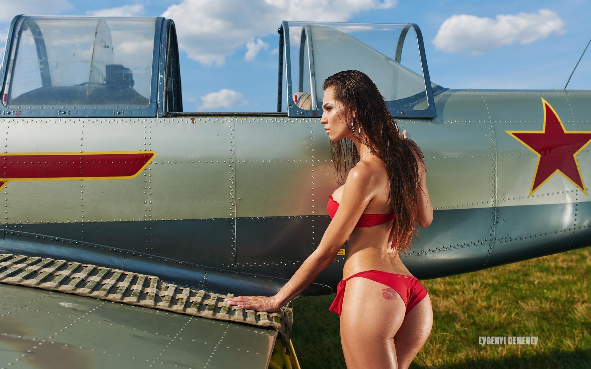 women, planes, airplane, tanned, evgenyi demenev, women outdoors, ass, red bikini, tattoo, long hair, grass