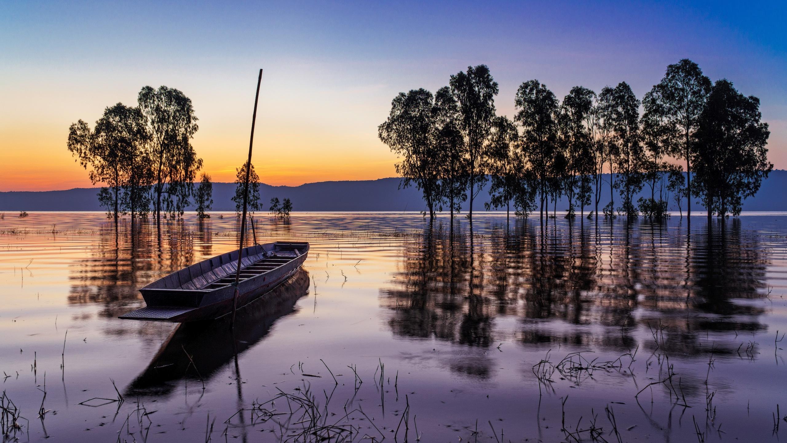 таиланд, вода, озеро, закат солнца, деревья, лодка, природа, пейзаж