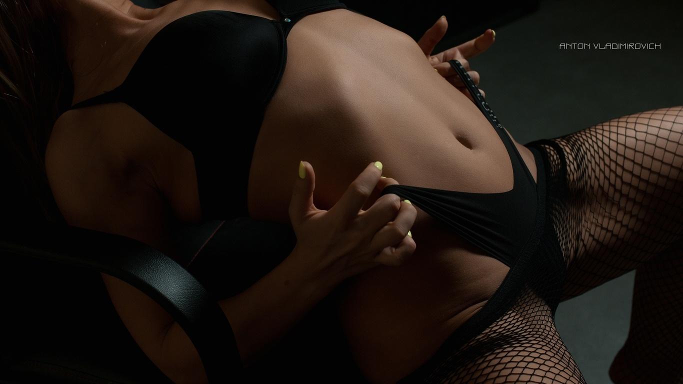 women, tanned, belly, black lingerie, fishnet stockings, holding panties, anton vladimirovich