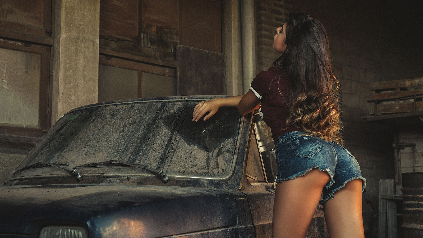 women, tanned, jean shorts, ass, women with cars, t-shirt, closed eyes, stockings, long hair