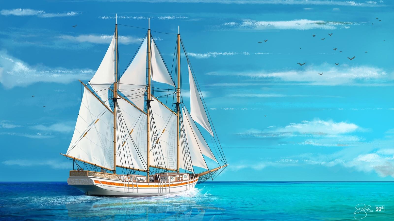 Корабли открытка, поцелуй