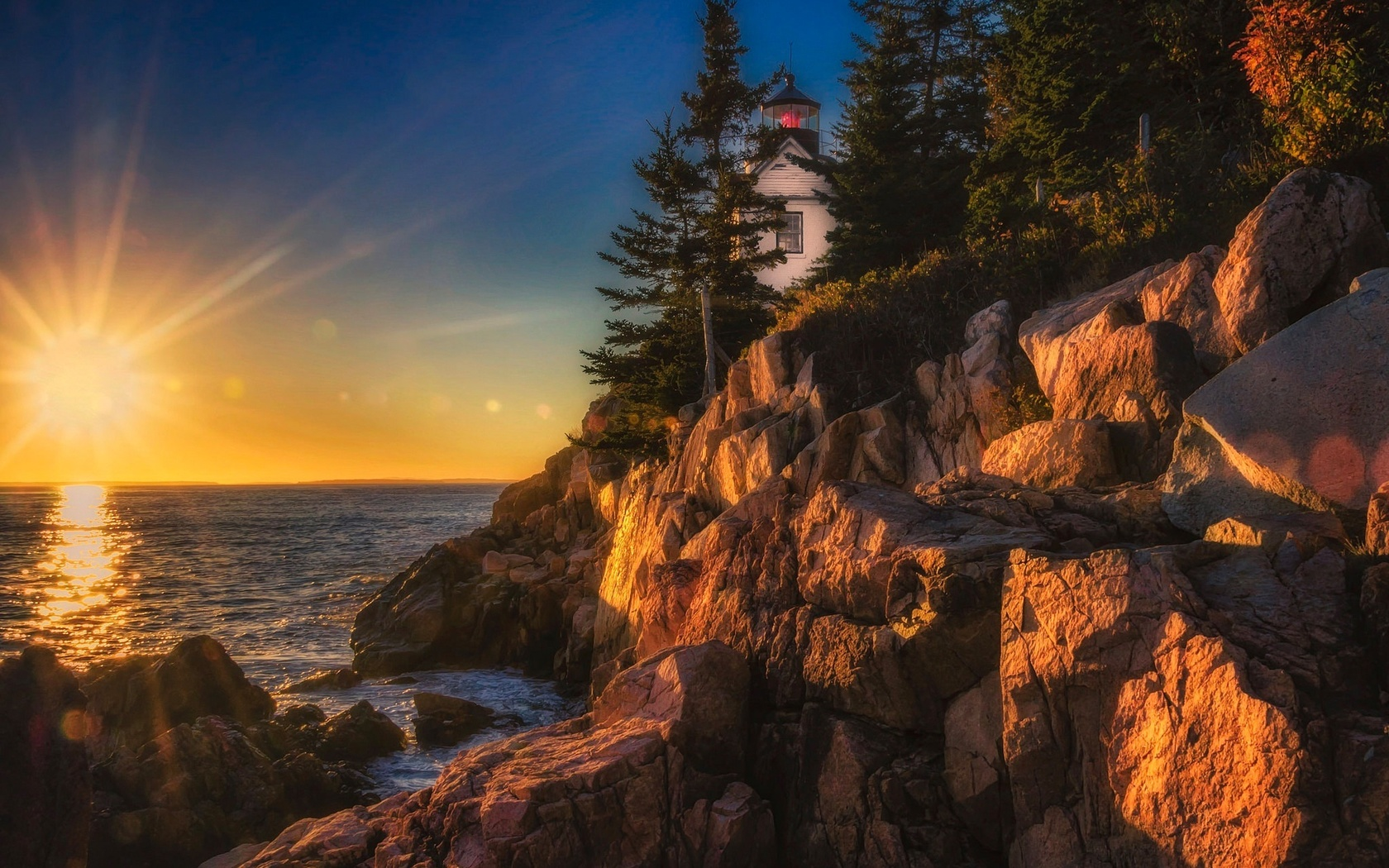сша, остров, маунт-дезерт, природа, пейзаж, океан, скалы, парк, акадия, маяк, солнце, лучи, закат