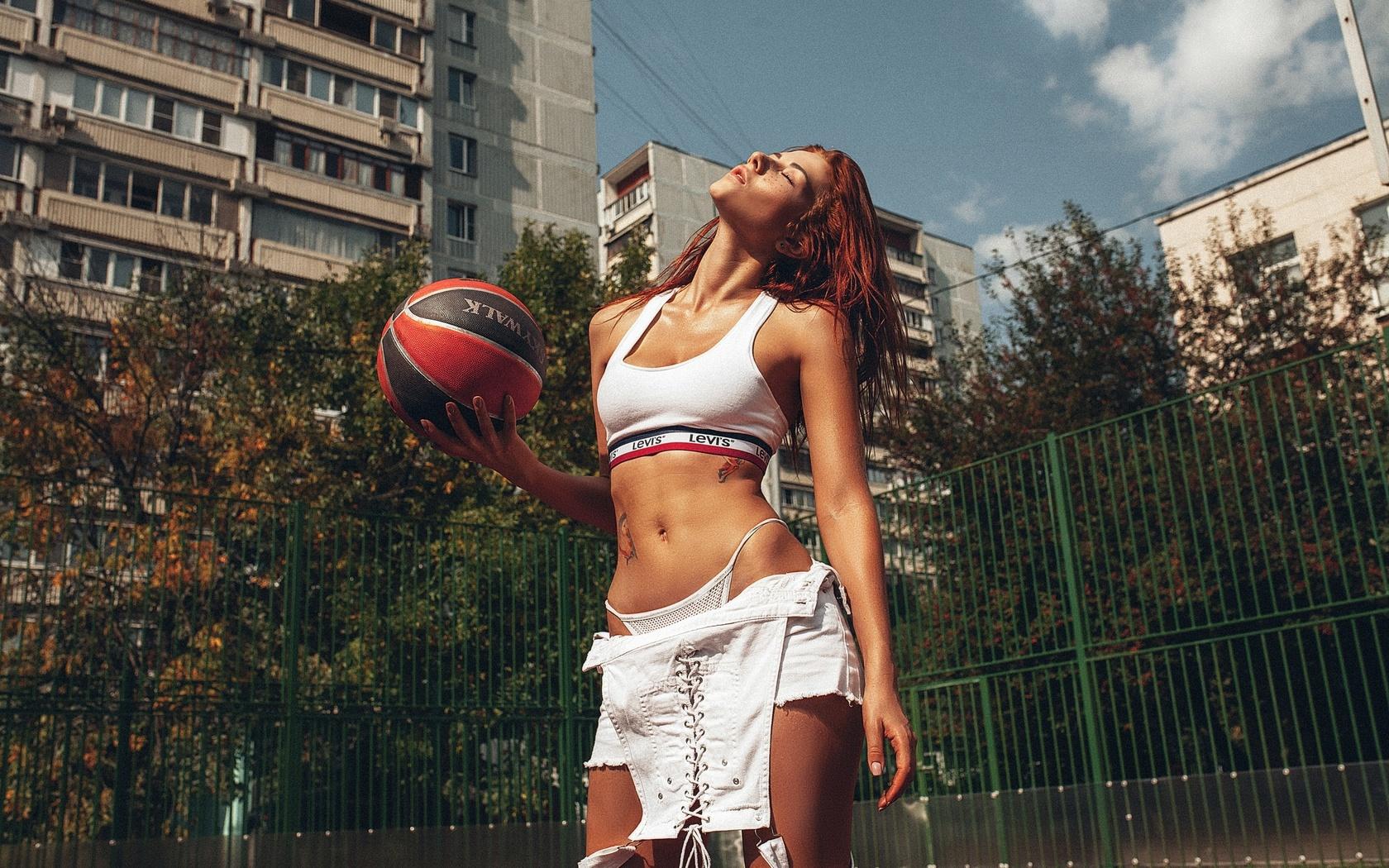 inga sunagatullina, women, ball, redhead, closed eyes, white tops, belly, thong, tattoo, building, women outdoors, overalls