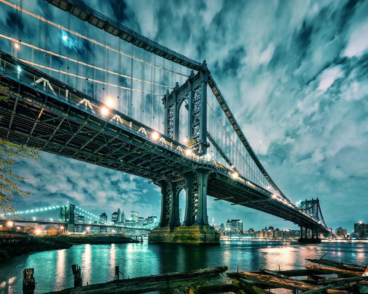 манхэттен, бруклинский мост, ночь, город, иллюминация