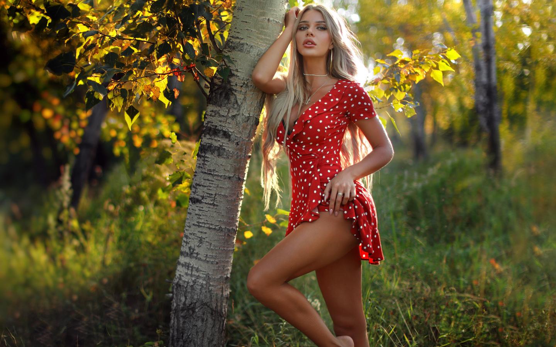 natali danish, блондинка, платье, дерево, осень, anton montbrillant