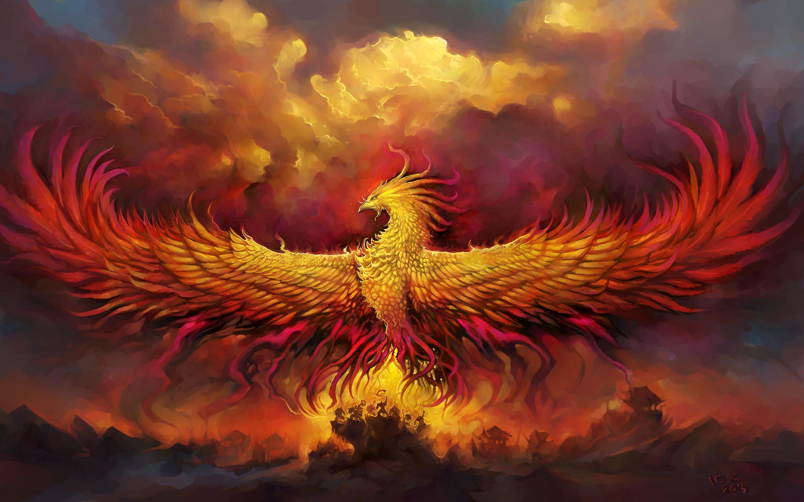 крылья, феникс, птица, огонь, арт