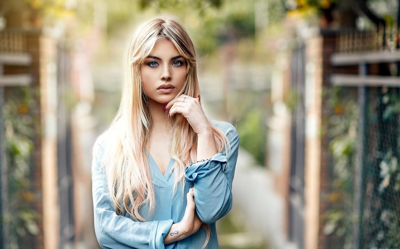 блондинка, взгляд, девушка, блузка, татуировка, alessandro di cicco
