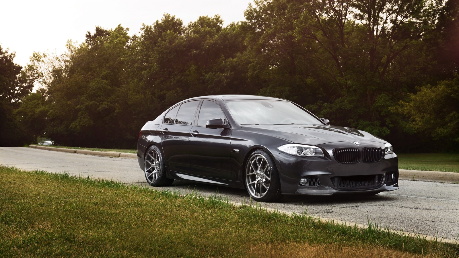 car, vehicle, gray, grass, road, bmw, bmw 5 series