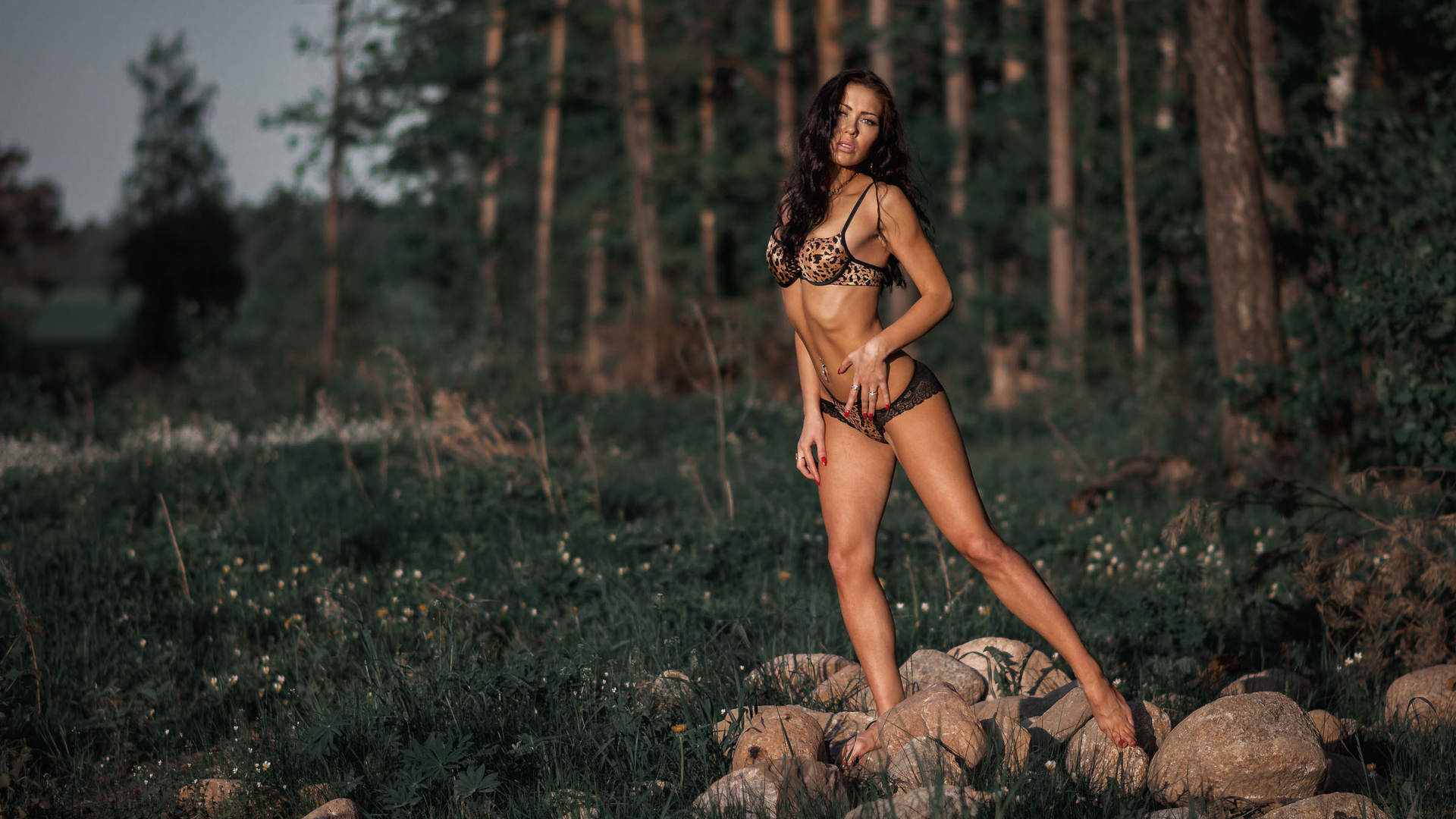 women, tanned, lingerie, red nails, ribs, pierced navel, trees, forest