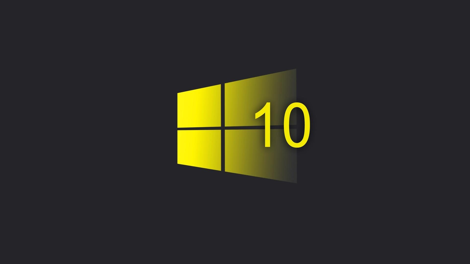 windows 10, yellow, logo, minimalism