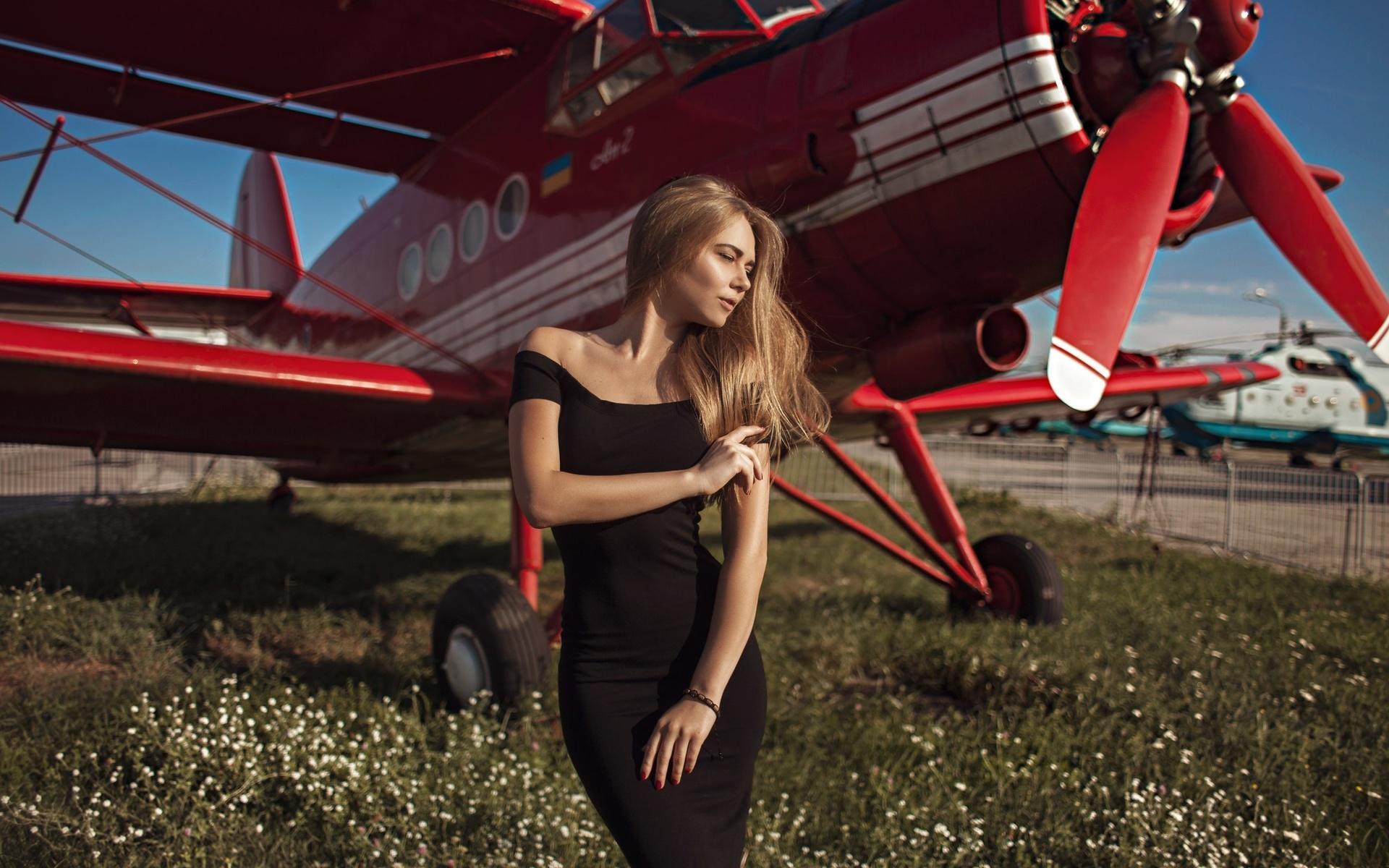 девушка, проф фото, анастасия кошелева, самолет, аэродром