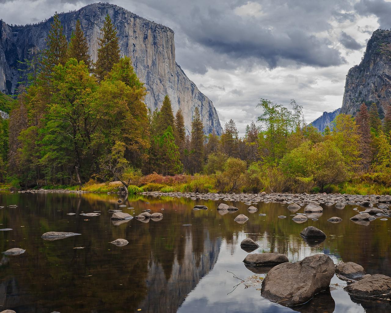 yosemite, national park, sierra nevada, горы, озеро, лес, деревья, скалы, осень