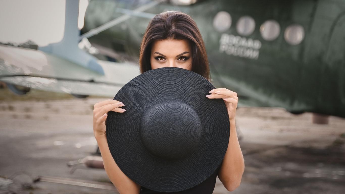 women, portrait, hat, face, women outdoors, airplane