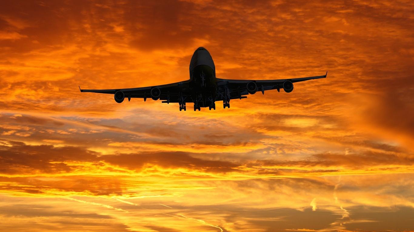 самолет, силуэт, небо, ретушь