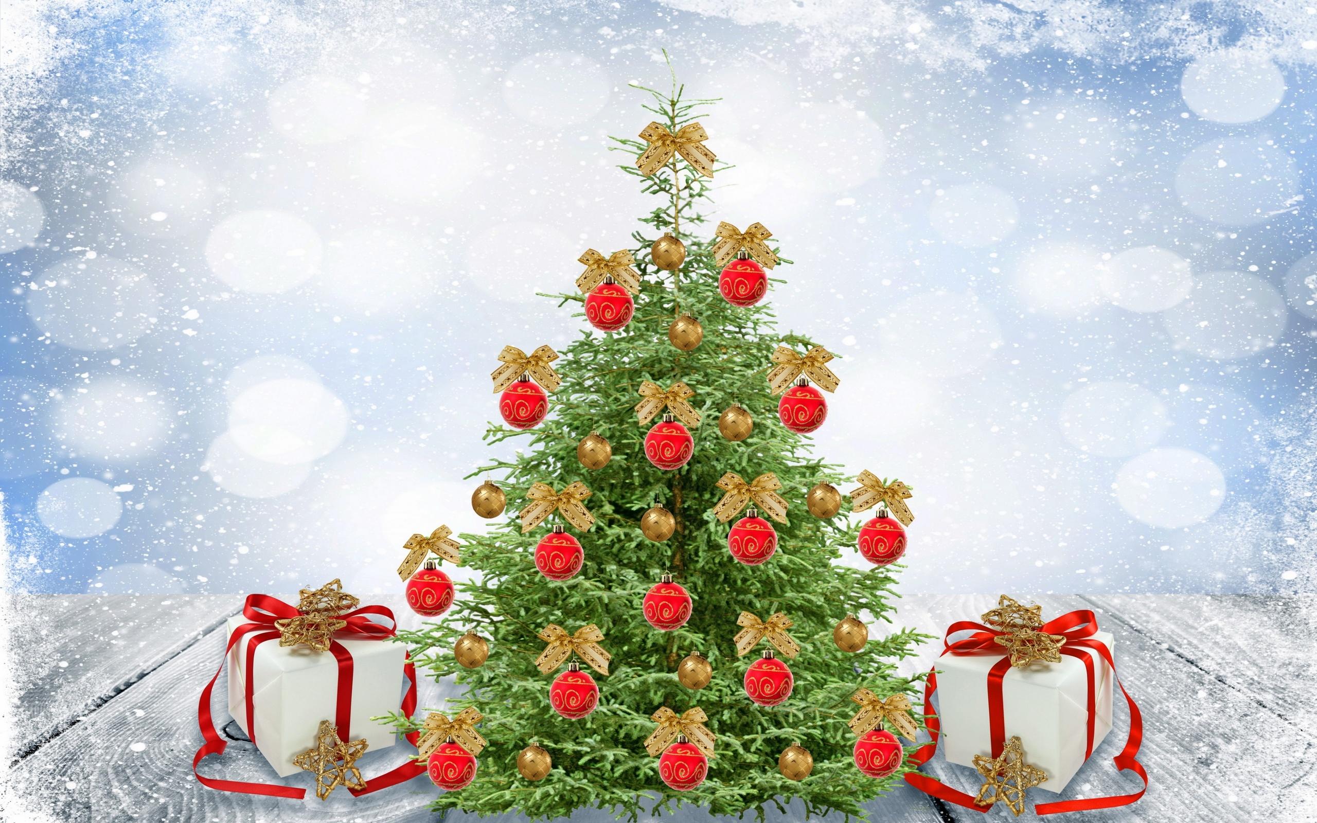Новогодняя картинка с елками
