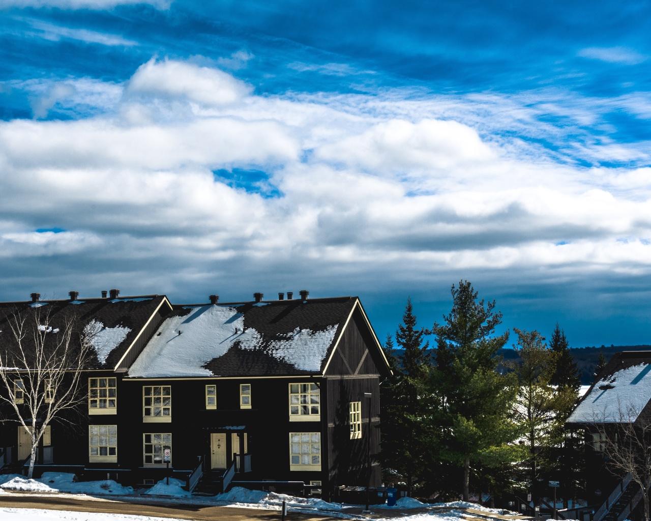 небо, облака, дома, снег, зима