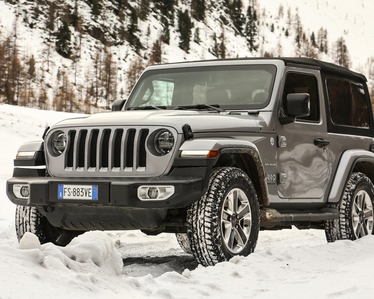jeep, wrangler, зима, снег