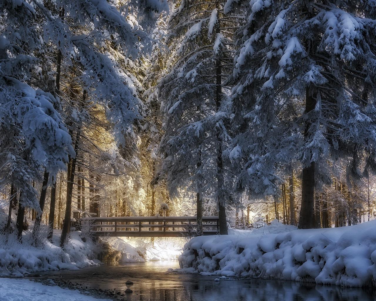 зима, снег, деревья, пейзаж, природа, парк, лёд, речка, мостик, rudi moerkl