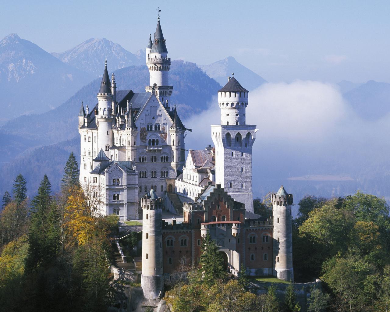 нойшванштайн, германия, осень, горы, замок, бавария