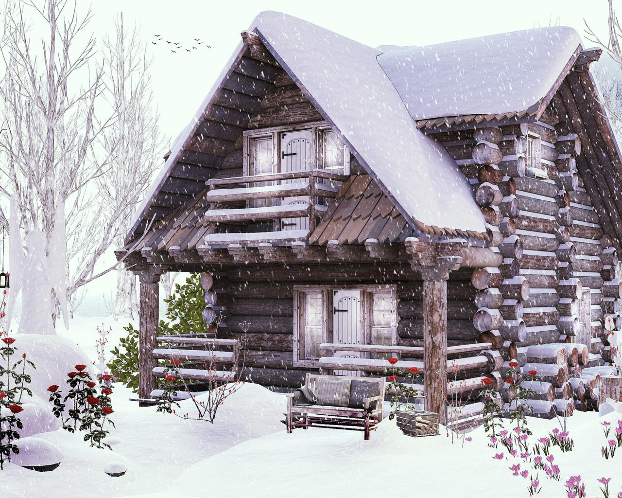 зима, дома, снег, бревна, дизайн, деревянный