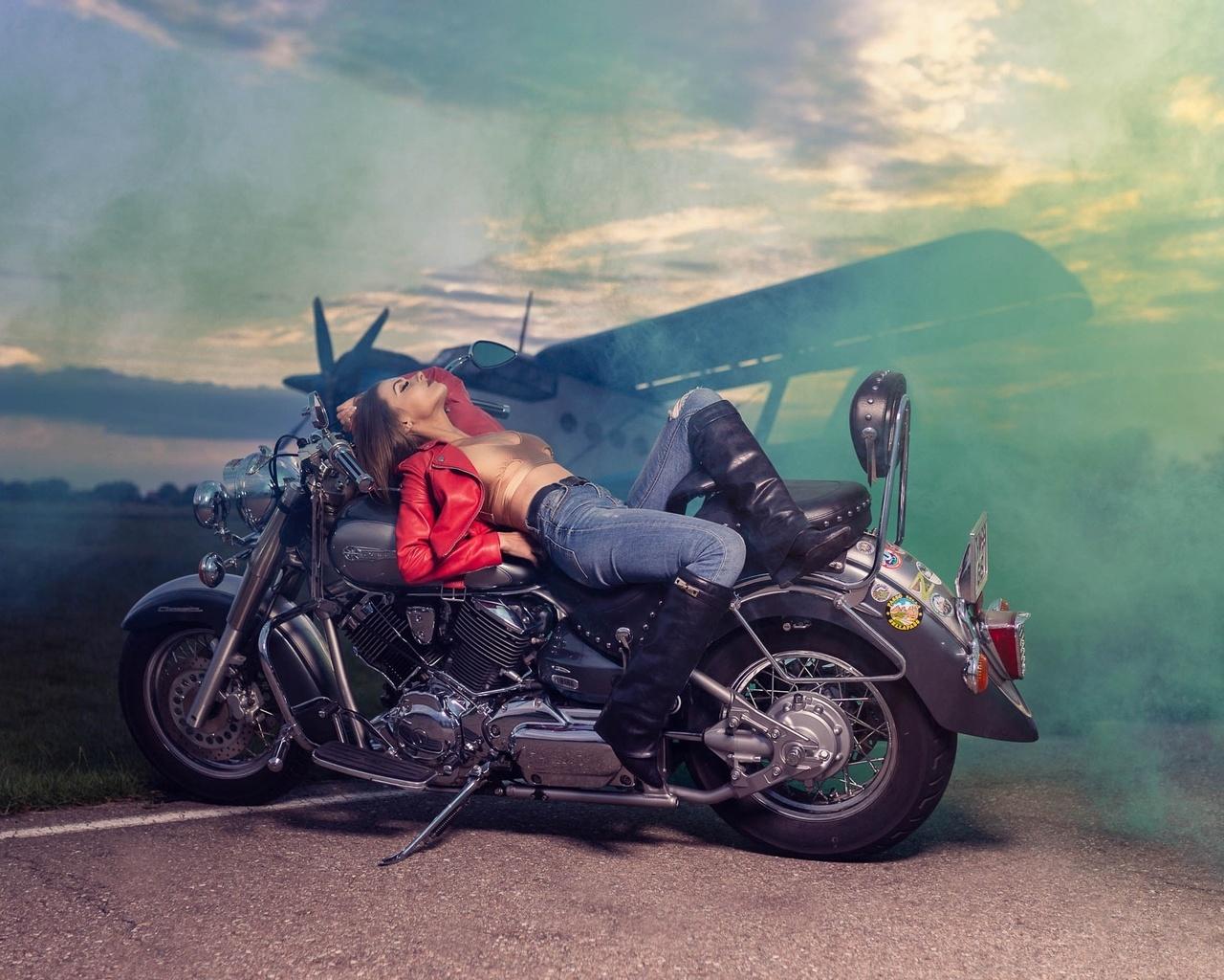 мотоцикл, девушка, байк