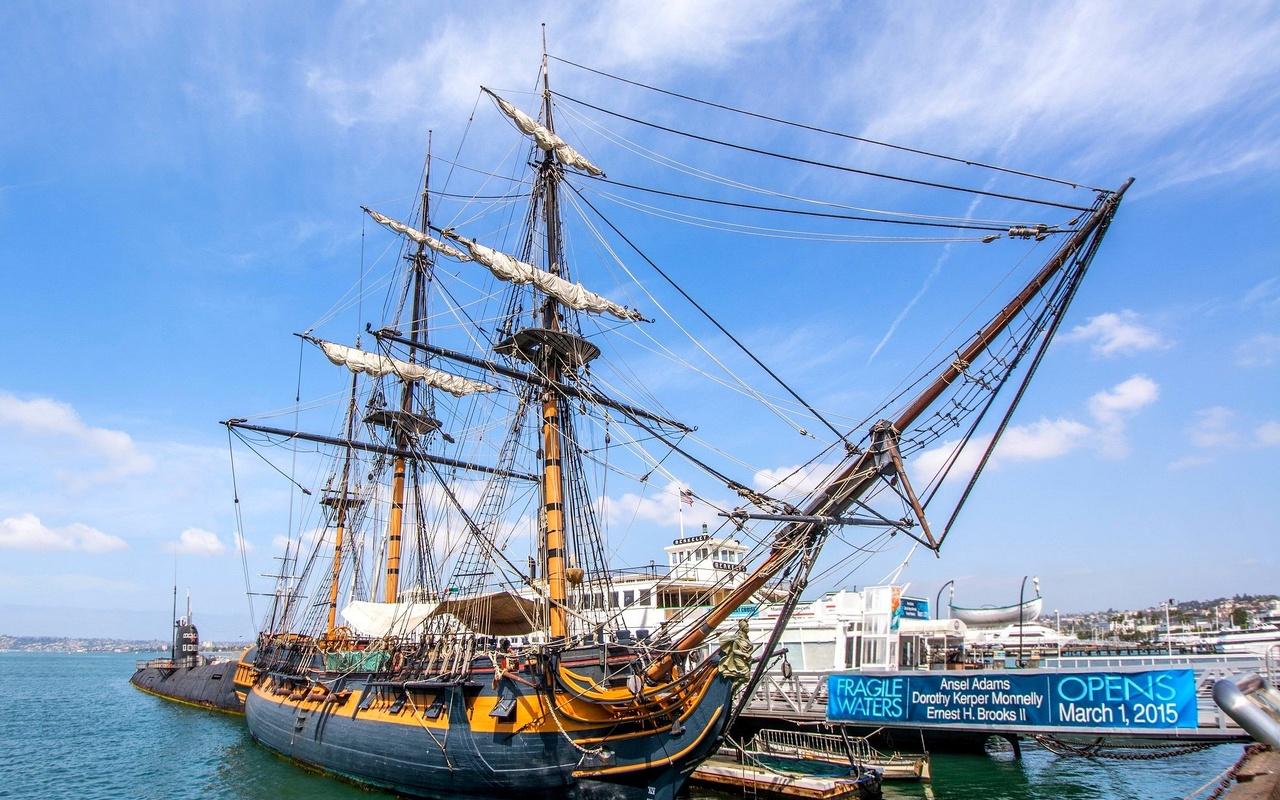 парусный, корабль, причал, музей