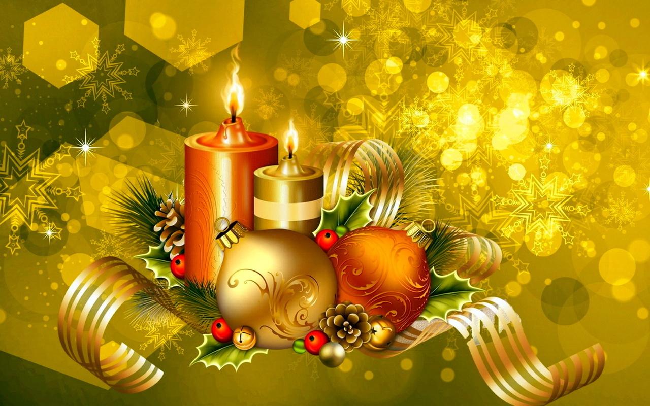 свечи, шары, шишки, украшения, новый год