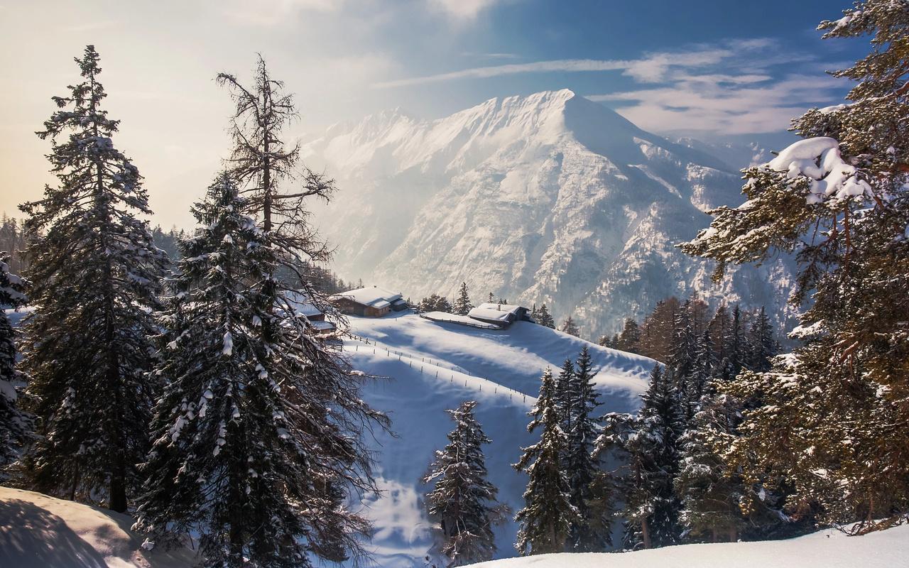 лес, деревья, пейзаж, горы, природа, дома, ели, склон, альпы, снега, torsten muehlbacher