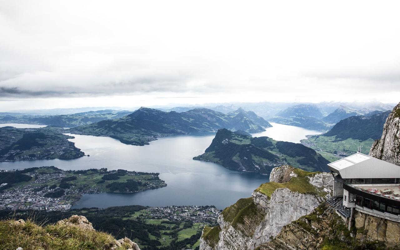 швейцария, горы, река, вид сверху