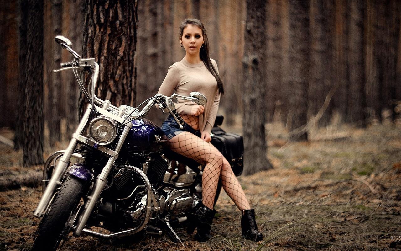 мотоцикл, лес, девушка