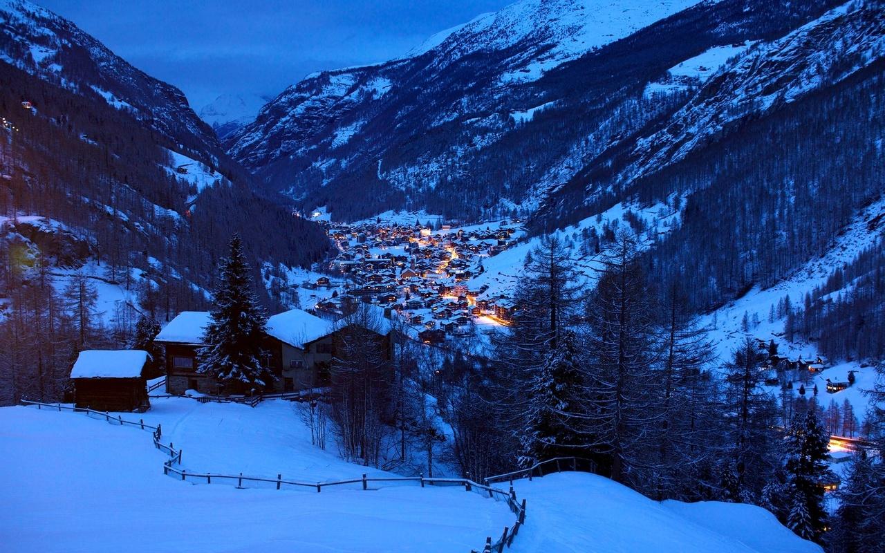 горы, зима, вечер, городок