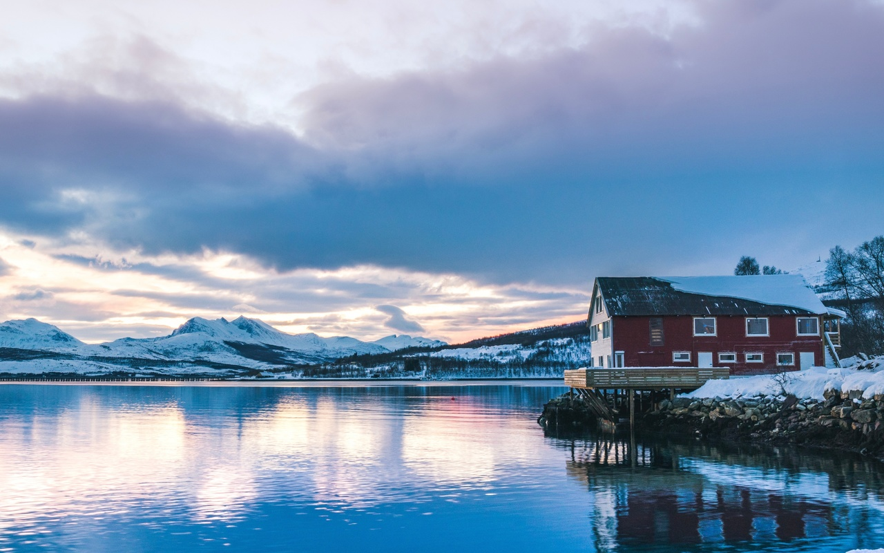 озёра, зима, озеро, горы