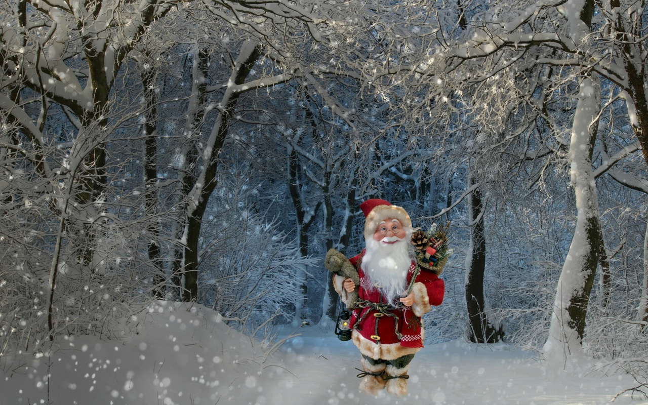 3d, digital art, природа, зима, снег, снегопад, лес, деревья, санта клаус, подарки, праздник, новый год, рождество