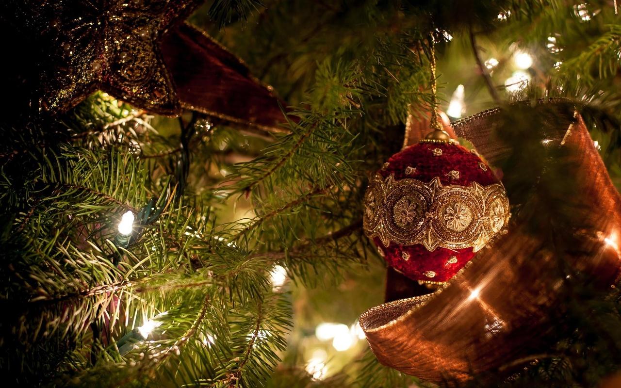 праздник, игрушки, звезда, новый год, шар, рождество, лента, ёлка, украшения, лампочки