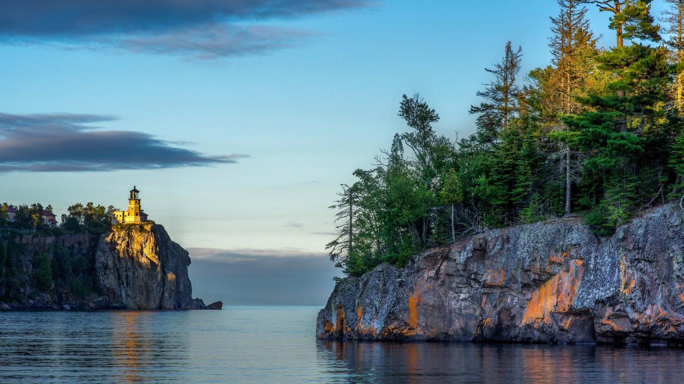сша, миннесота, великие озёра, озеро, верхнее, скалы, маяк, деревья, ели, лес, природа, пейзаж