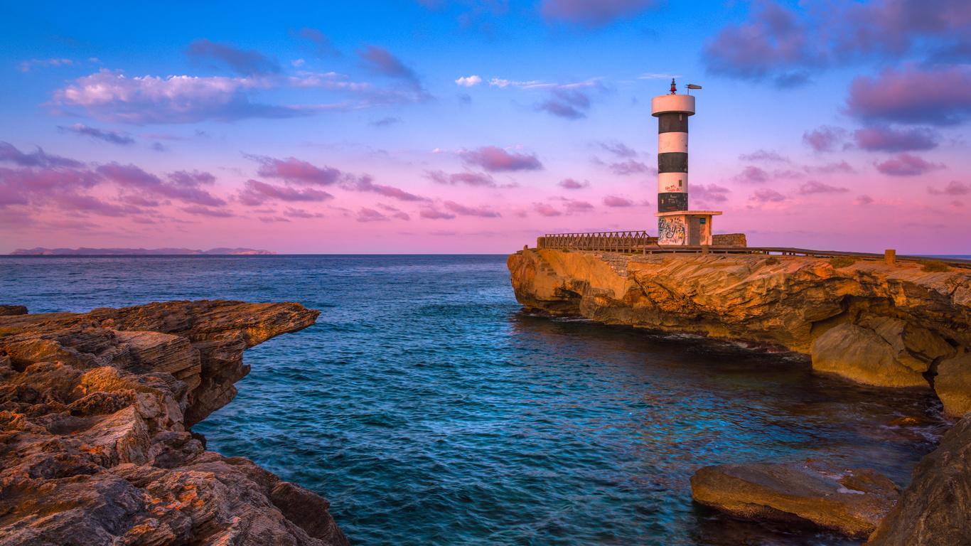 маяк, бухта, море, скалы, рассвет, испания