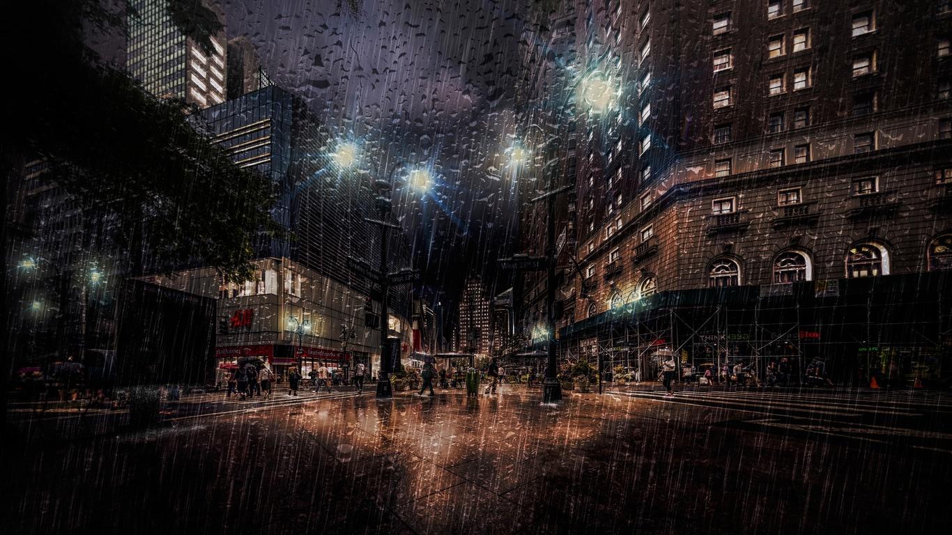 капли, ночь, дождь, new york, город