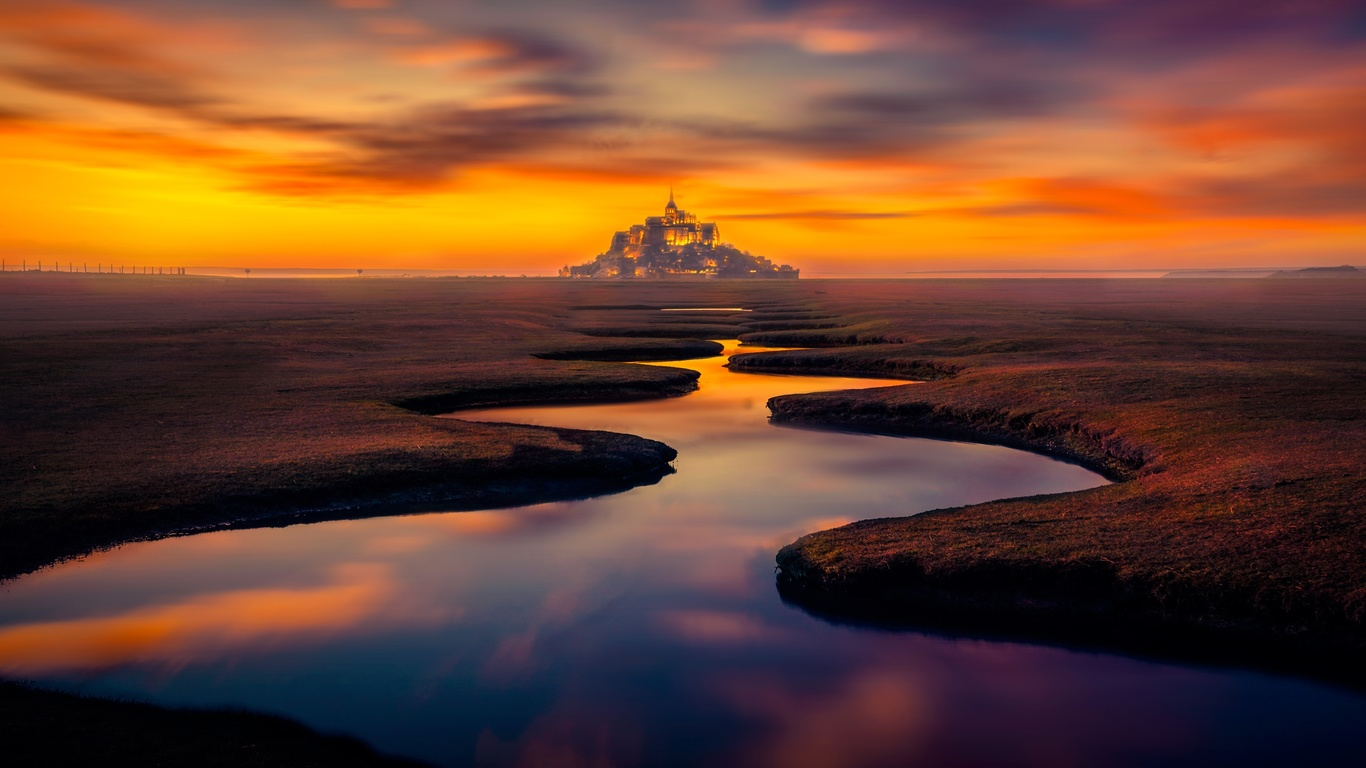 france, mont saint-michel, island, castle, stream, sunset