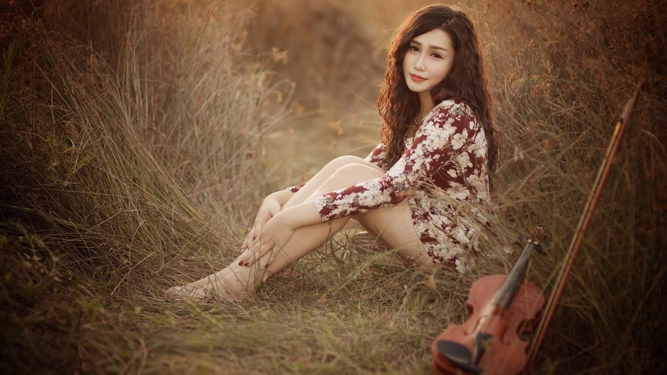 азиатская девушка, взгляд, скрипка, музыка