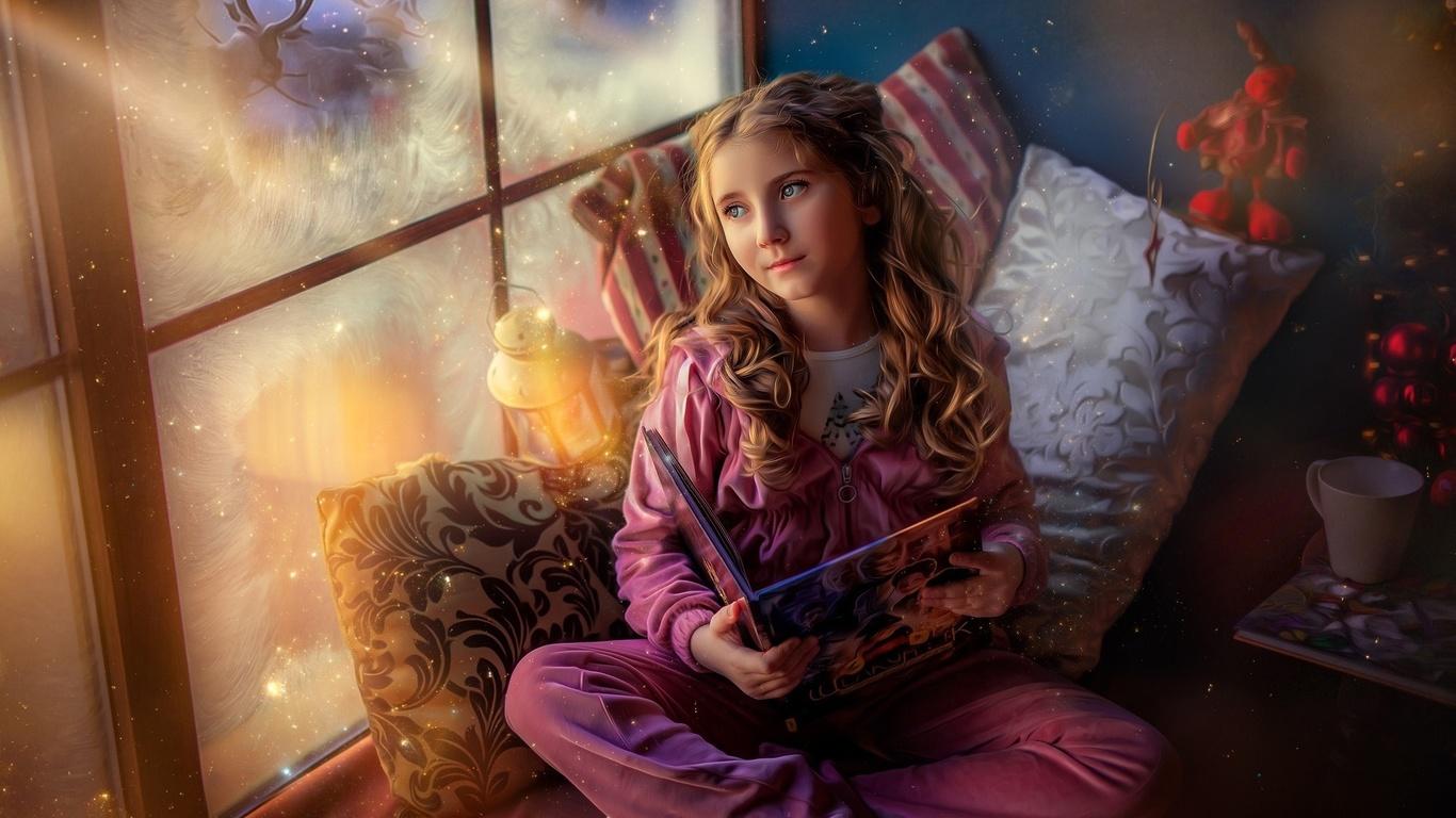 девочка, ребёнок, взгляд, книга, подушки, подоконник, окно, мороз, олени, волшебство
