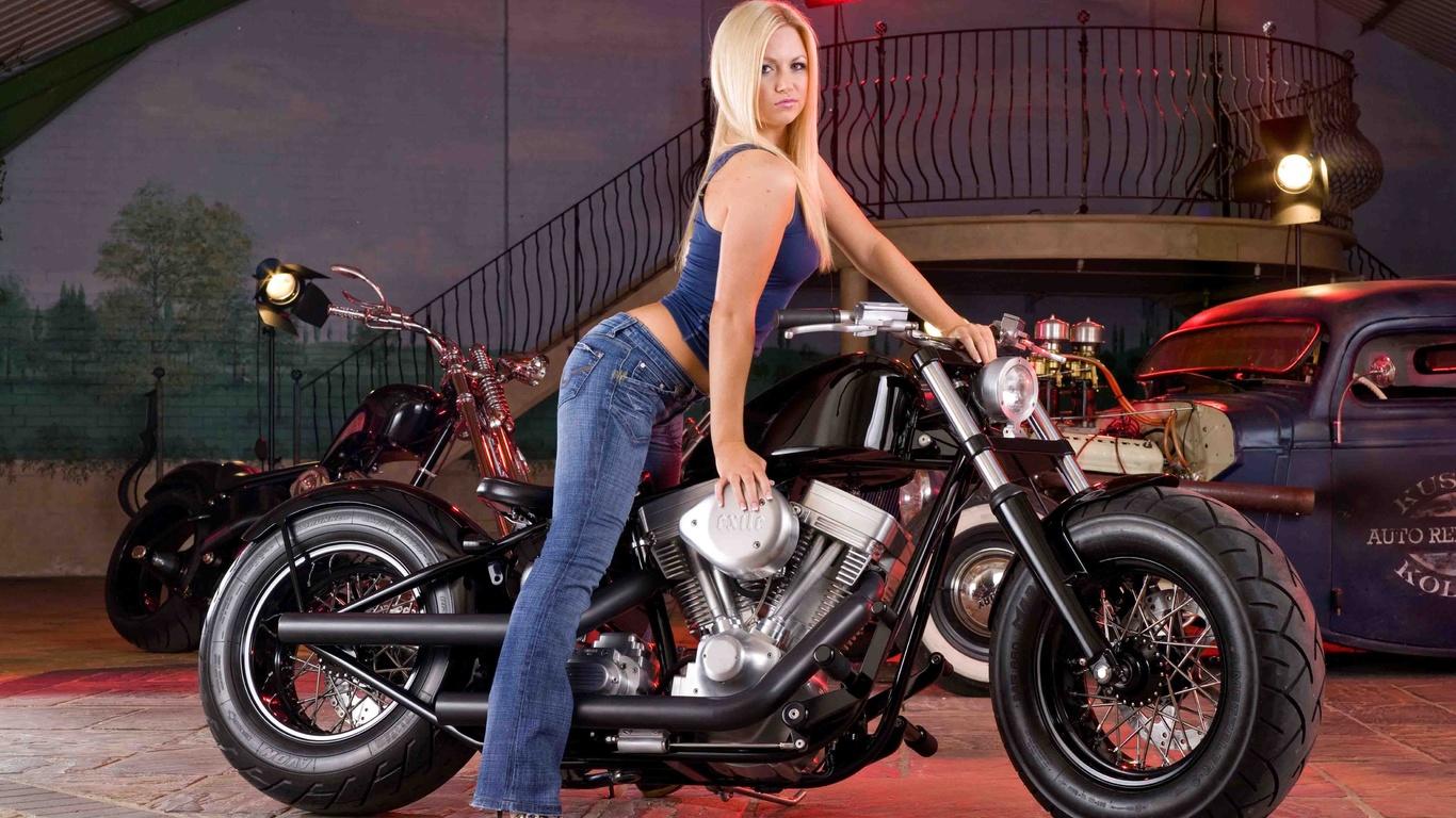 мотоцикл, байкерша
