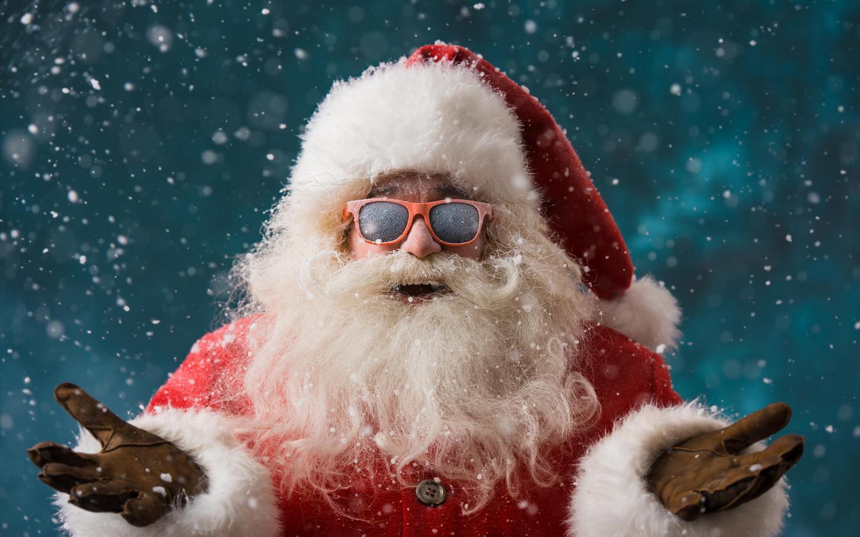 санта клаус, новый год, праздники, очки,снег,улыбка,настроение,креатив