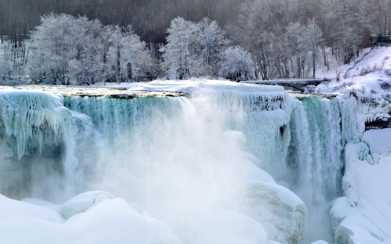 природа, пейзаж, зима, водопад, ниагара, сосульки, лёд, мороз, деревья, иней