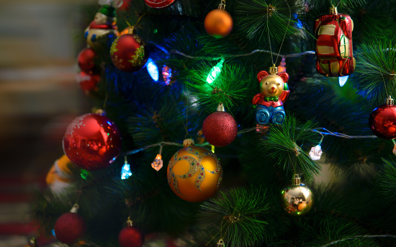 праздник, новый год, рождество, ёлка, игрушки, шары, украшения, лампочки, гирлянда
