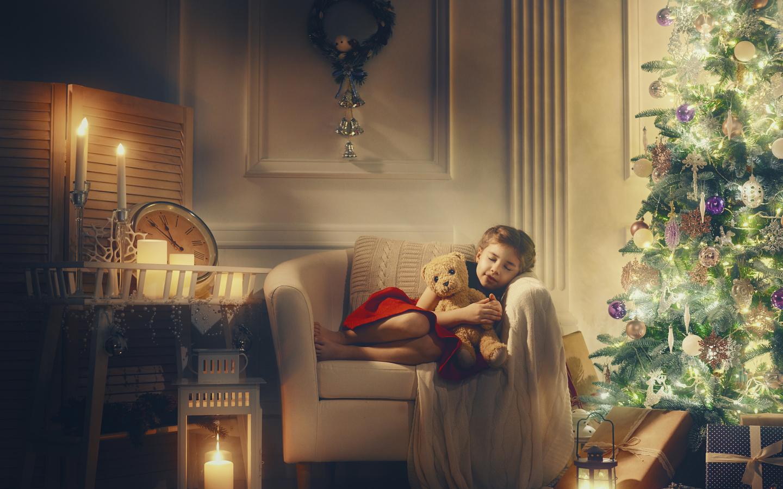 новый год, свечи, мишки, елка, ребёнок, рождество