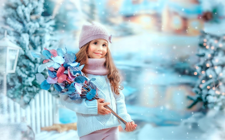 зима, листья, снег, ветки, праздник, забор, новый год, девочка, ребёнок, ёлки, ekaterina dombrugova