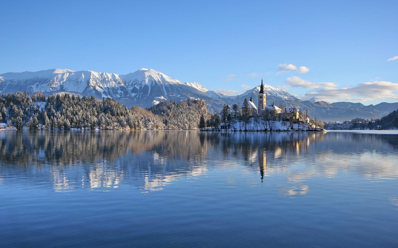 словения, озеро, горы, замок, зима, lake, bled, castle, альпы, снег, природа