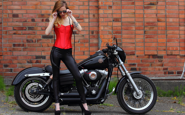 harley davidson, мотоцикл, девушка