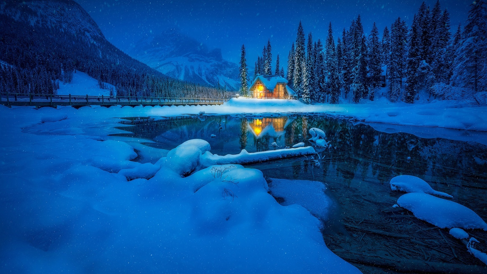 yoho, national park, канада, зима, домик, красиво, снег, ночь, горы